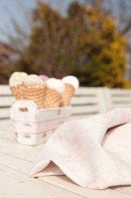 My gelato in waffle cones next to millie fabric in the garden on a sunny day looking delicious