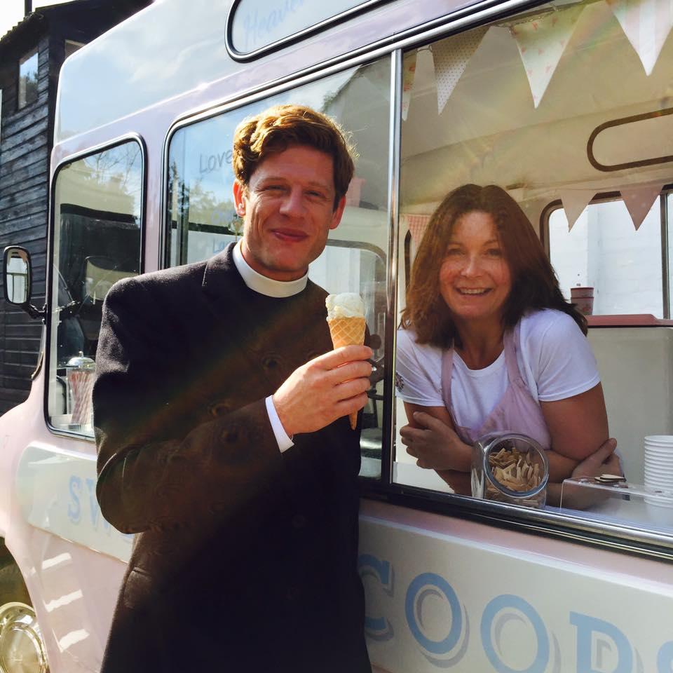 Actor of Grantchester James Norton standing next to ice cream van