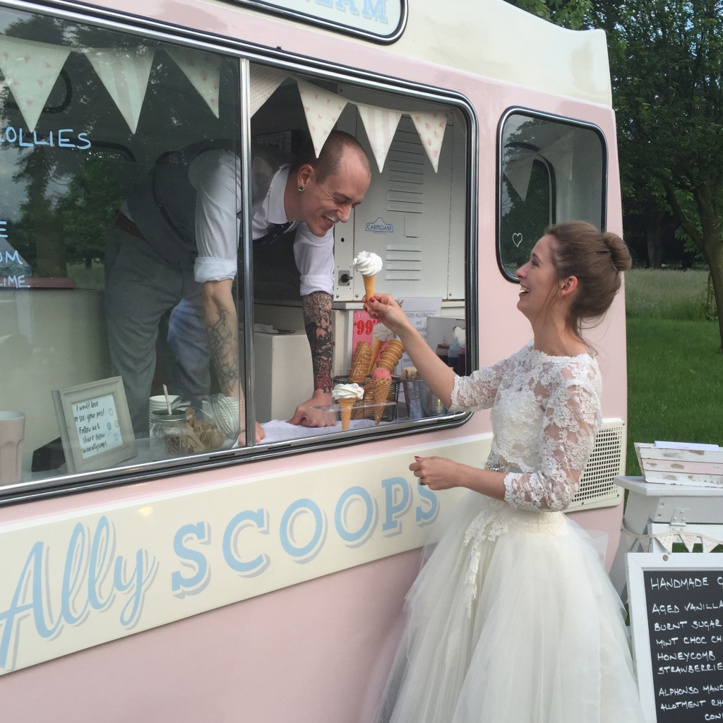 groom serving his bride!