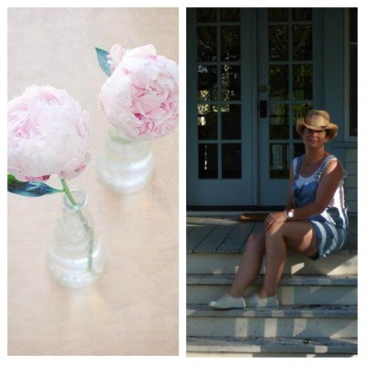 Pink flowers in a vase and Ally sitting on a front porch