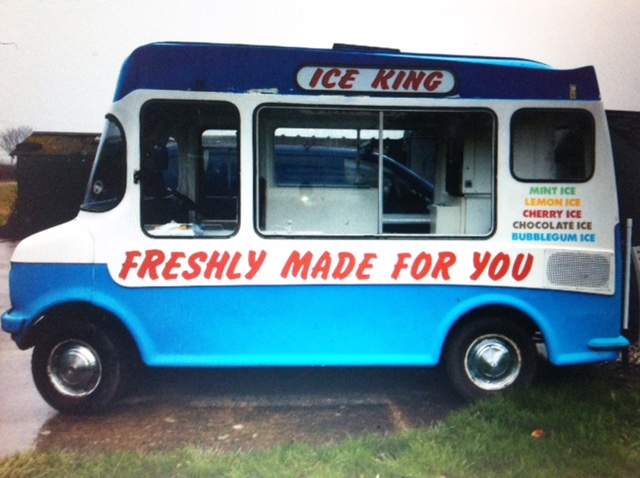 My bedford blue and white old vintage ice cream van
