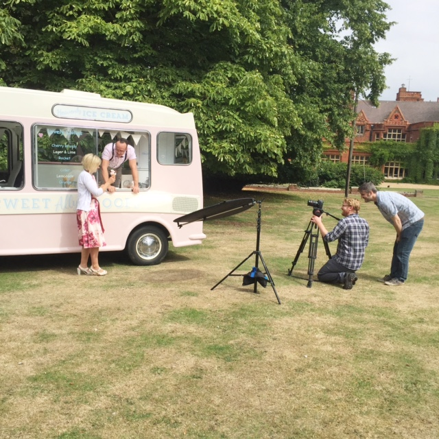 Lottie the vintage ice cream van being filmed next to two presenters